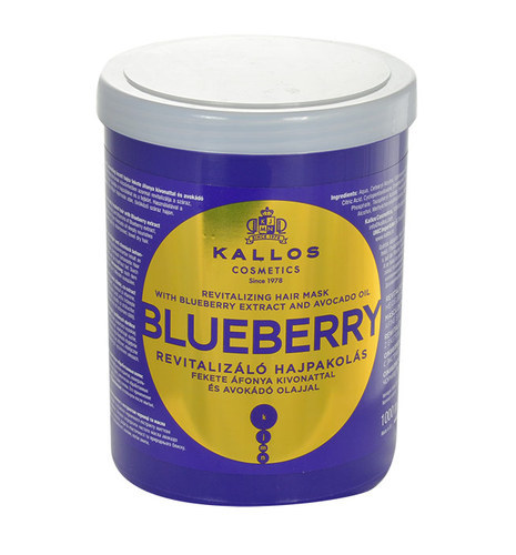 KALLOS Blueberry Revitalizing Hair Mask With Blueberry Extract And Avocado Oil 1000ml