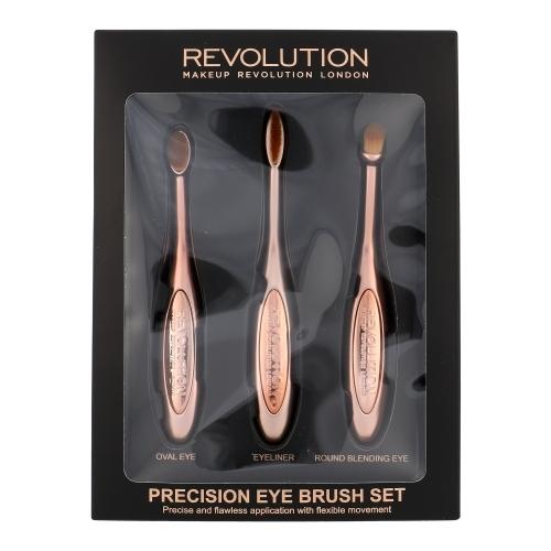 Make Up Revolution London Precision Eye Brush Kit For The Perfect Application Of Eyeshadows - Set Brush For Eyeshadows Round & Brush For Eyeshadows Oval & Brush For Eye Liner
