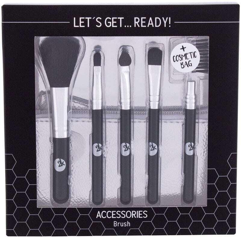 2k Let´s Get Ready! Brush 1pc Combo: Brush Set 5 Pcs + Cosmetic Bag