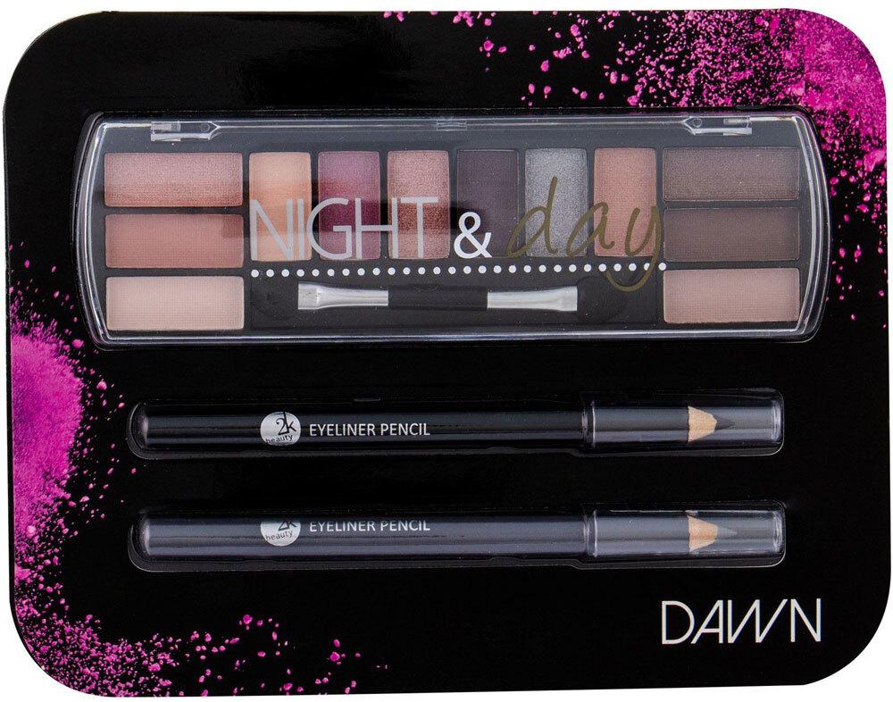 2k Night & Day Eye Shadow Dawn 8,16gr + Eyeliner Pencil 0,6gr Black + Eyeliner Pencil 0,6gr Grey