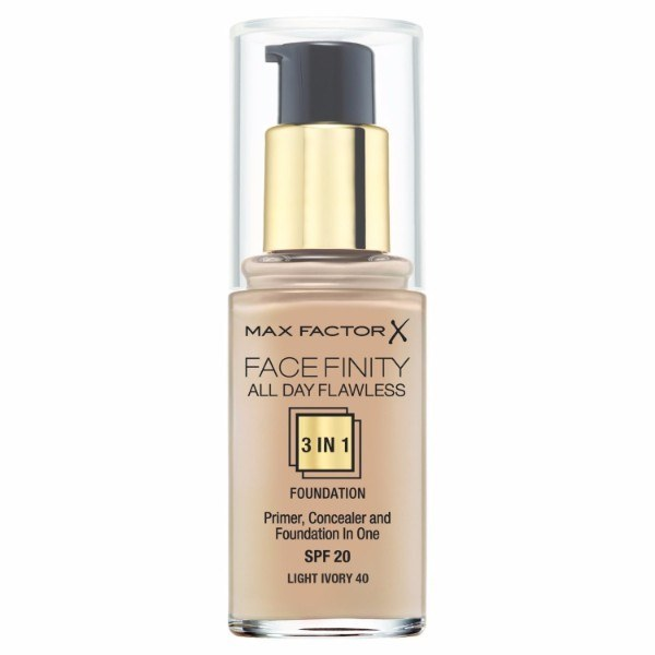 MAX FACTOR Facefinity All Day Flawless 3in1 Foundation SPF20 40 Light Ivory 30ml