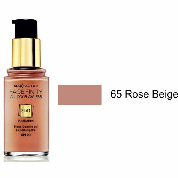 MAX FACTOR Facefinity All Day Flawless 3in1 Foundation SPF20 65 Rose Beige 30ml
