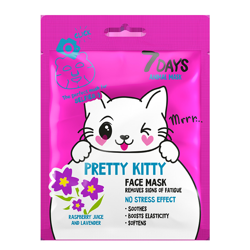 7Days Animal Mask Face Mask Pretty Kitty Removes Signs Of Tiredness 28gr