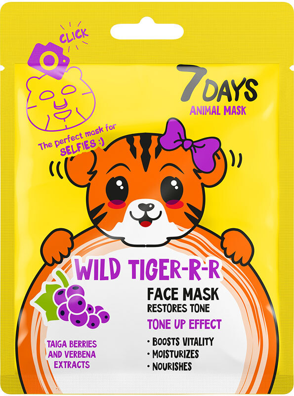 7Days Animal Mask Face Mask Wild Tiger-R-R Restores Tone 28gr