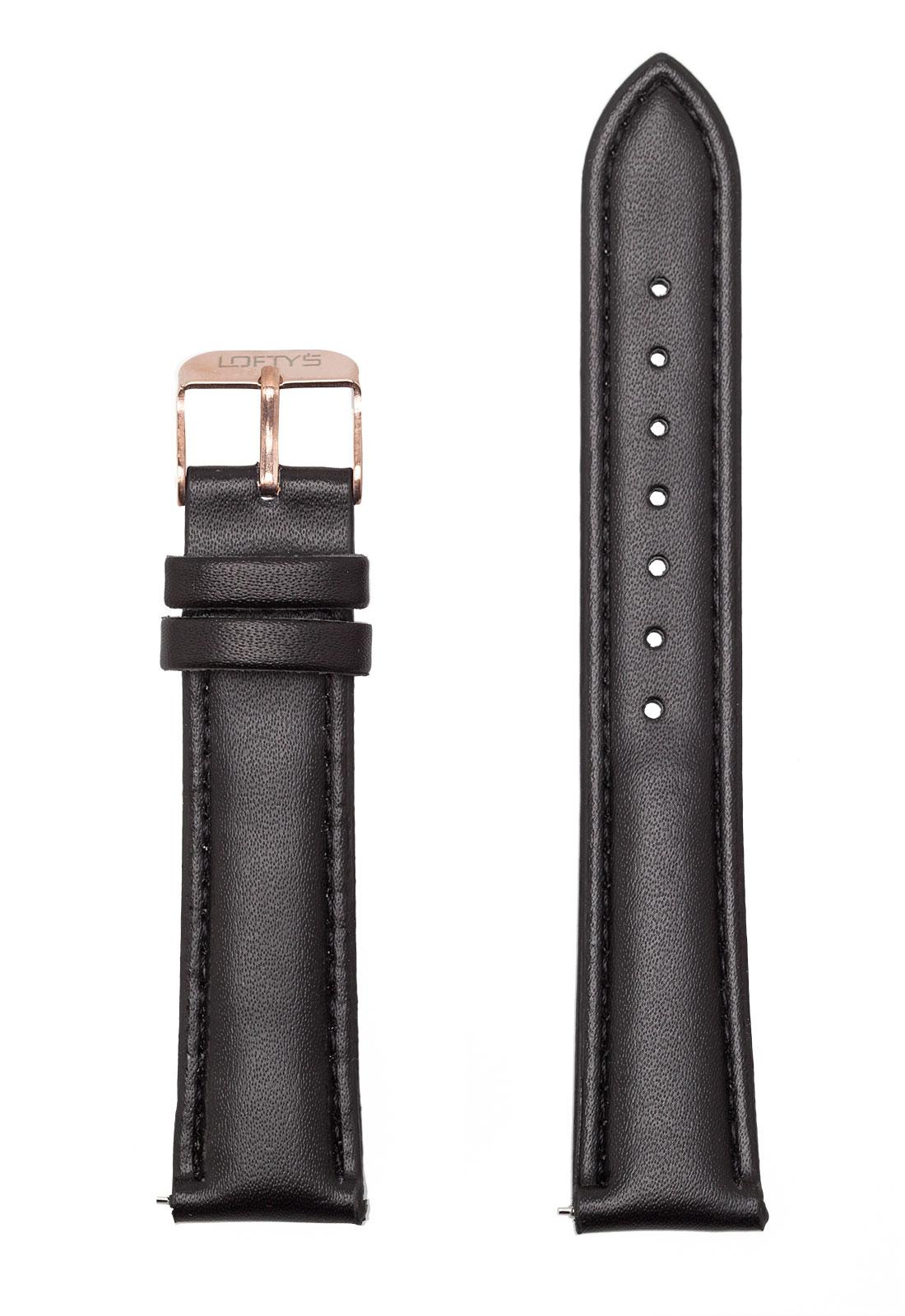 Μαύρο Δερμάτινο Λουράκι 18mm με Αγκράφα