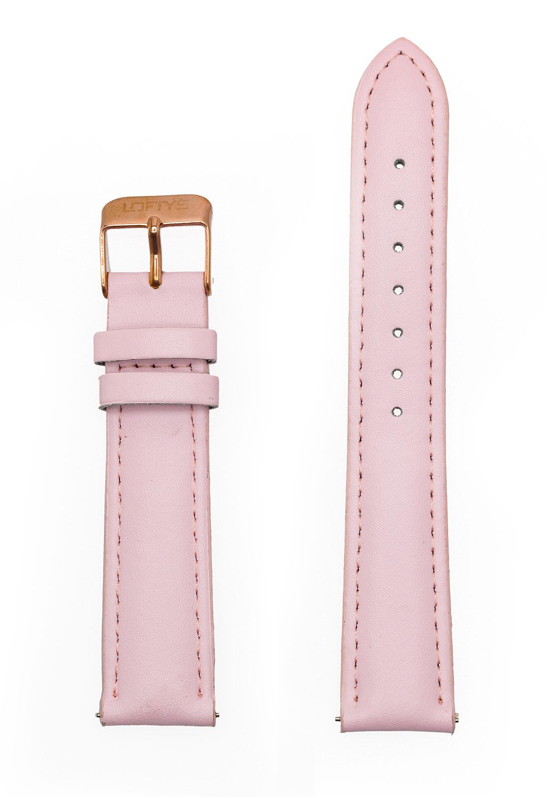 Ροζ Δερμάτινο Λουράκι Ρολογιού 18mm με Αγκράφα