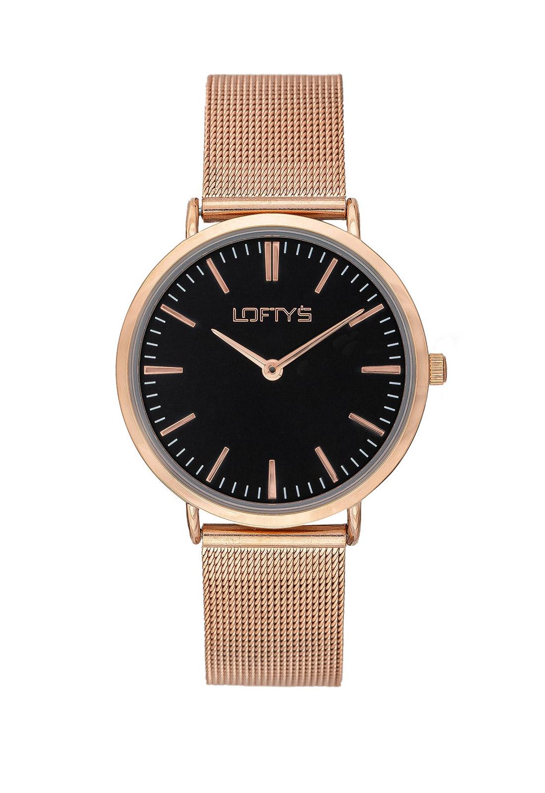 Ρολόι Loftys Corona Ροζ Χρυσό Μπρασελέ Μαύρο Καντράν Y2016-14