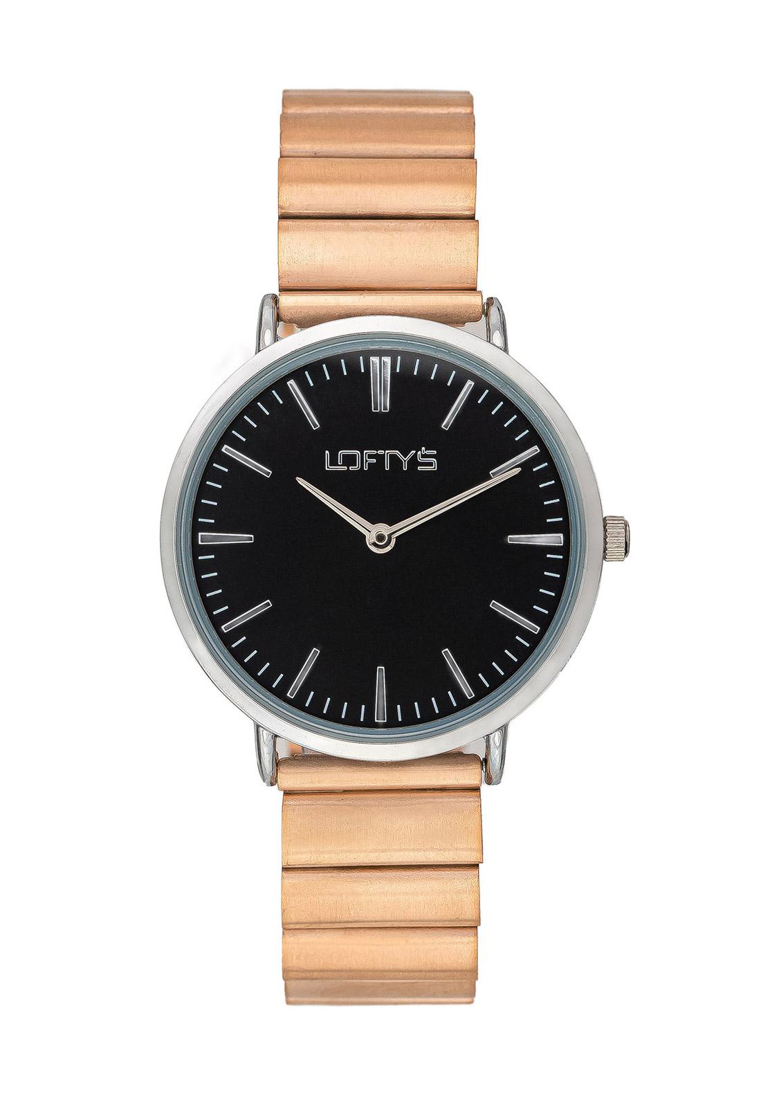 Ρολόι Loftys Corona Ροζ Χρυσό Μπρασελέ με Μαύρο Καντράν Y2016-25