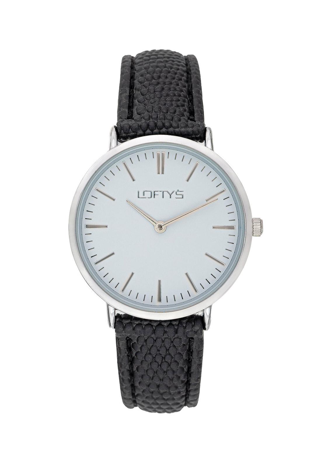 Ρολόι Loftys Corona Μαύρο Λουράκι και Λευκό Καντράν Y2016-7