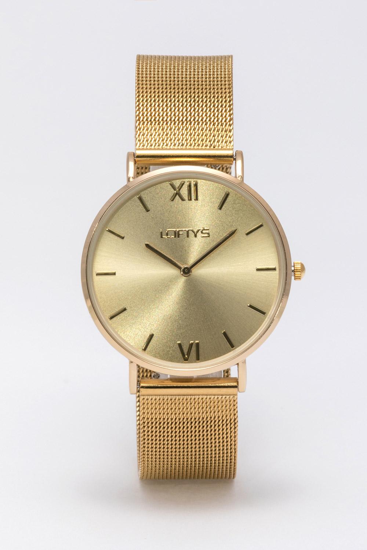 Ρολόι Loftys Vintage με χρυσό μπρασελέ και χρυσό καντράν Y3406-33