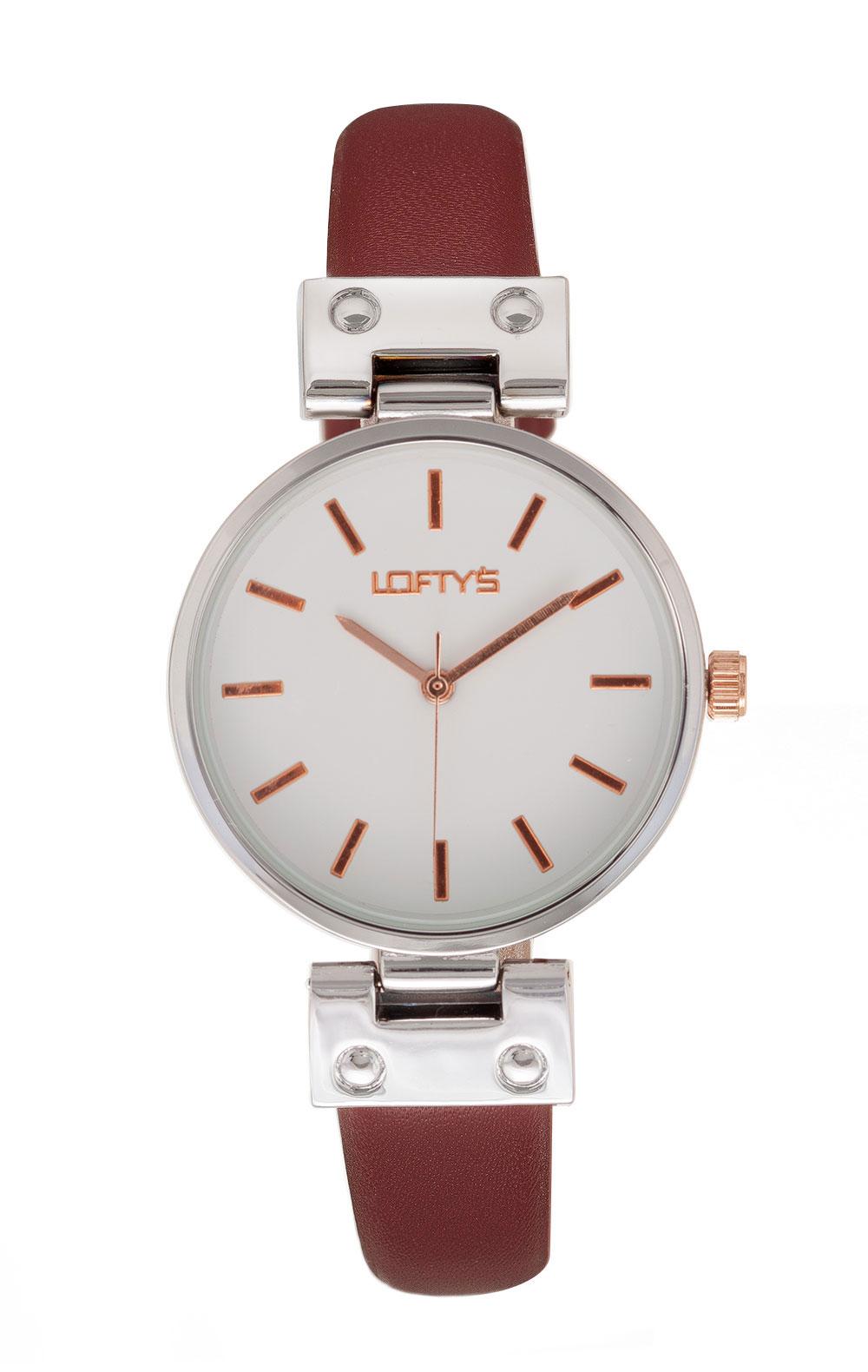 Ρολόι Loftys Kelly με κόκκινο λουράκι και λευκό καντράν Y3409-25