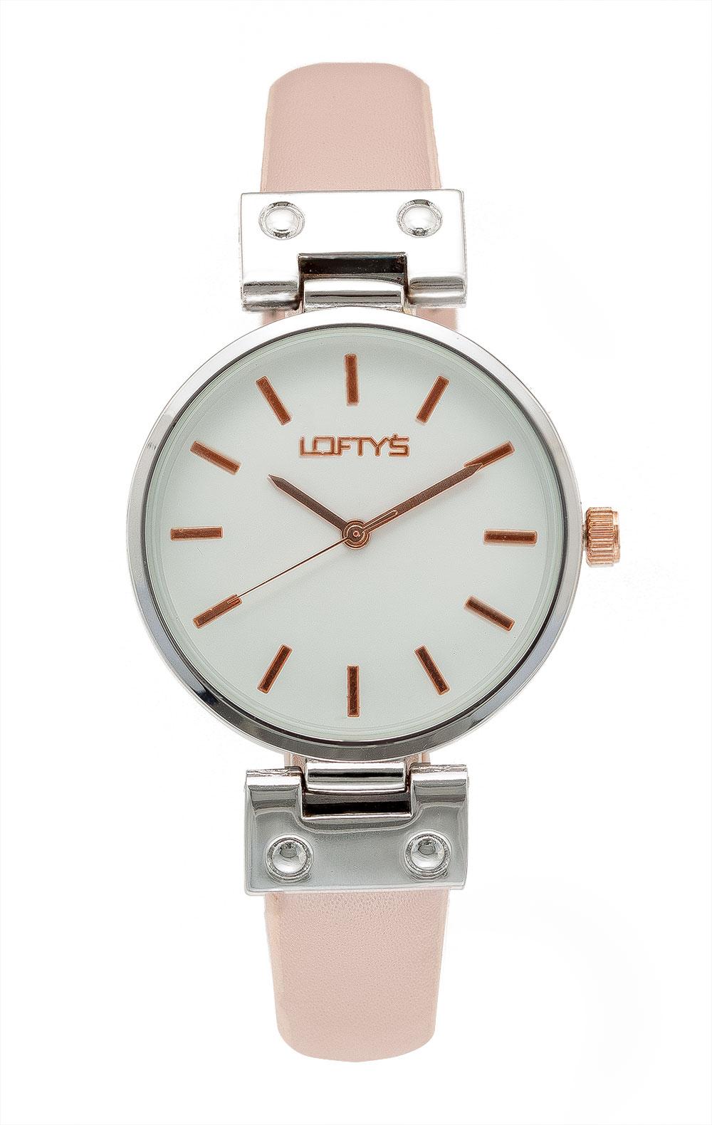 Ρολόι Loftys Kelly με ροζ λουράκι και λευκό καντράν Y3409-26