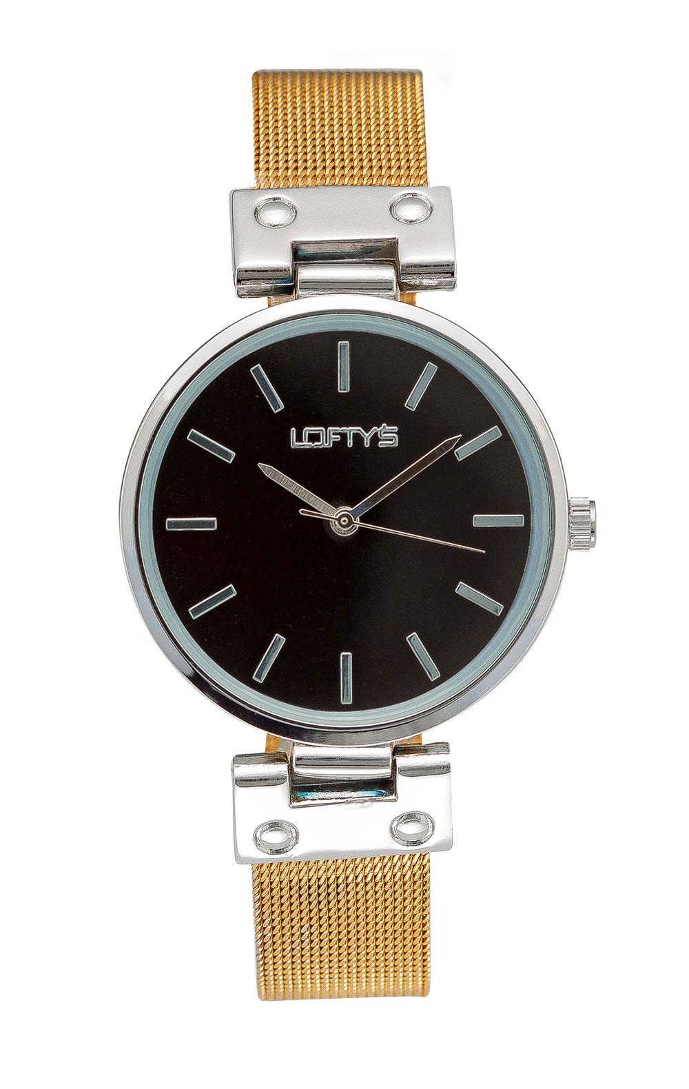 Ρολόι Loftys Kelly με χρυσό μπρασελέ και μαύρο καντράν Y3409-27