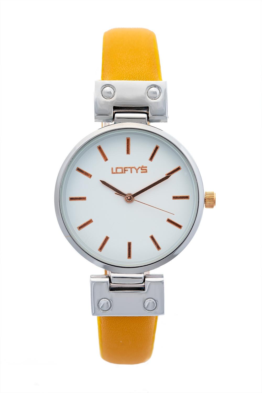 Ρολόι Loftys Kelly με κίτρινο λουράκι και λευκό καντράν Y3409-40