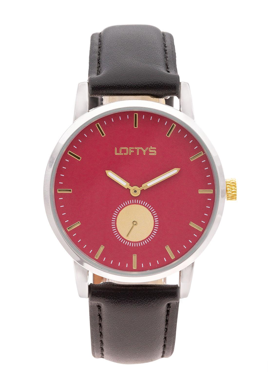 Ρολόι Loftys Scorpio με μαύρο λουράκι και κόκκινο καντράν Y3411-13