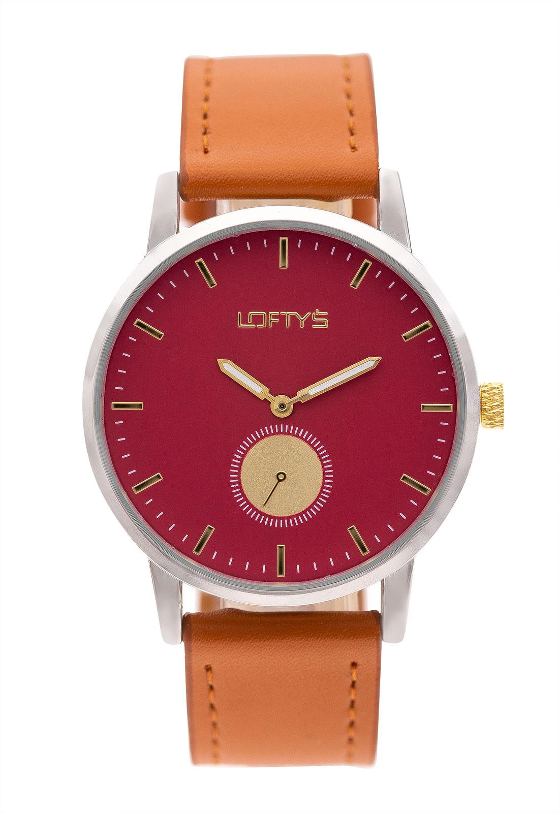 Ρολόι Loftys Scorpio με καφέ λουράκι και κόκκινο καντράν Y3411-14