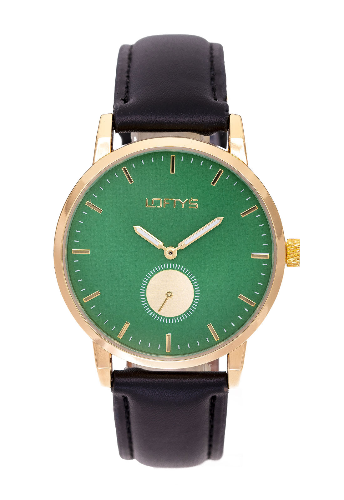 Ρολόι Loftys Scorpio με μαύρο λουράκι και πράσινο καντράν Y3411-1