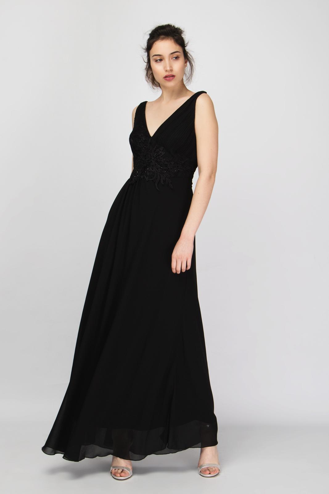 Μάξι Φόρεμα Chiffon V Μπούστο με Μοτίφ Strass