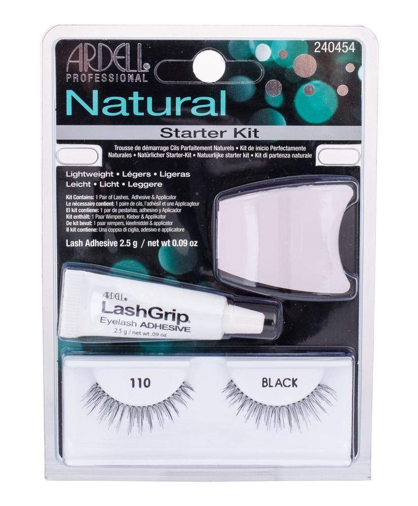 Ardell Natural False Eyelashes 1pc Black Combo: Fake Eyelashes Demi Wispies 110 1 Couple + Algae Adhesive 2,5 G + Applicator