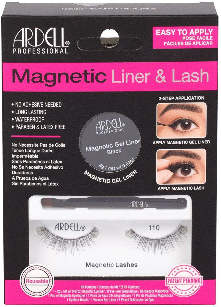 Ardell Magnetic Liner & Lash 110 False Eyelashes Black 1pc Combo: Magnetic Lashes 110 1 Pair + Magnetic Gel Line 2 G Black + Liner Brush 1 Pc