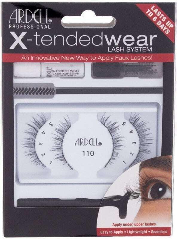Ardell X-Tended Wear Lash System 110 False Eyelashes Black 1pc Combo: False Lashes X-Tended Demi Wispies 1 Pair + X-Tended Glue Wear 1 G + Applicator 1 Pc + Remover 1 Pc + Eyelash Brush 1 Pc
