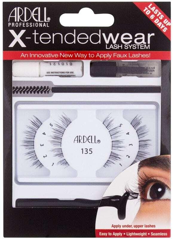 Ardell X-Tended Wear Lash System 135 False Eyelashes Black 1pc Combo: False Lashes X-Tended 135 1 Pair + Lash Glue X-Tended Wear 1 G + Applicator 1 Pc + Lash Remover 1 G + Lash Brush 1 Pc