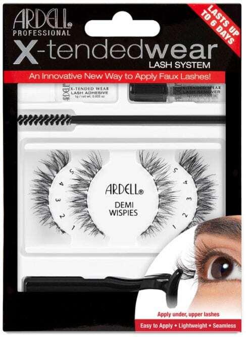 Ardell X-Tended Wear Lash System Demi Wispies False Eyelashes Black 1pc Combo: False Lashes X-Tended Demi Wispies 1 Pair + X-Tended Glue Wear 1 G + Applicator 1 Pc + Remover 1 Pc + Eyelash Brush 1 Pc