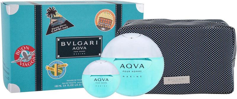 Bvlgari Aqva Pour Homme Marine Eau de Toilette 100ml Combo: Edt 100 Ml + Edt 15 Ml + Cosmetic Bag