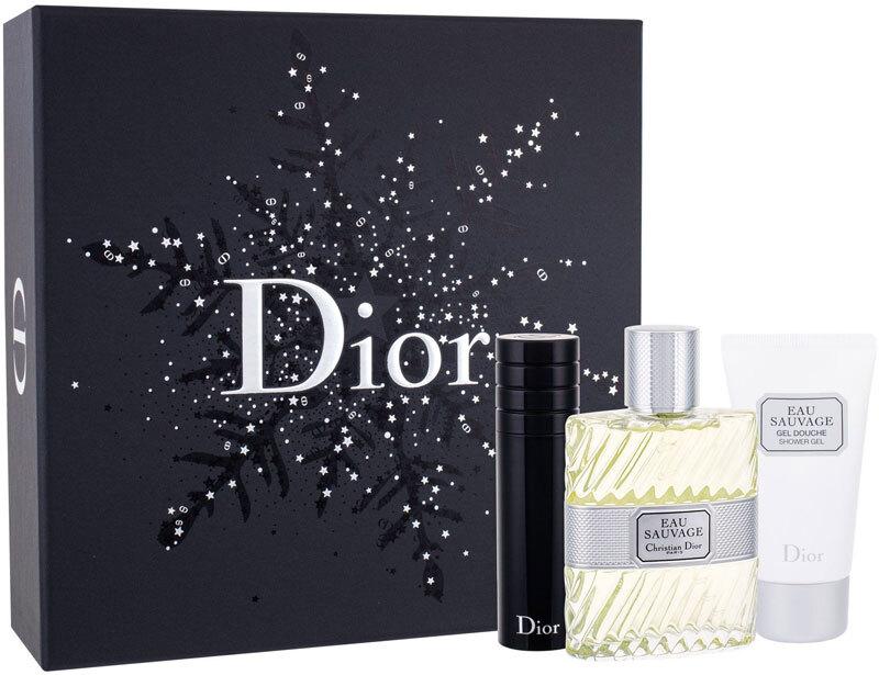 Christian Dior Eau Sauvage Eau de Toilette 100ml Combo: Edt 100 Ml + Shower Gel 50 Ml + Edt Refillable 10ml