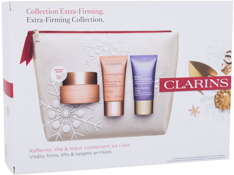 Clarins Extra-Firming Collection Day Cream 50ml Combo: Extra-Firming Jour 50 Ml + Extra-Firming Nuit 15 Ml + Extra-Firming Mask 15 Ml + Cosmetic Bag (First Wrinkles)