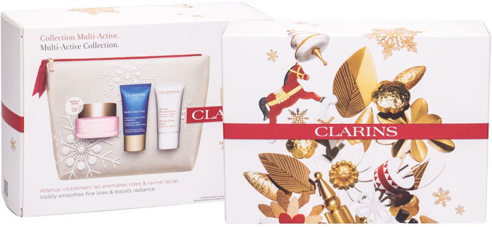 Clarins Multi-Active Day Cream 50ml Combo: Day Care 50 Ml + Night Care 15 Ml + Skin Balm Beauty Flash 15 Ml + Cosmetic Bag (For All Ages)