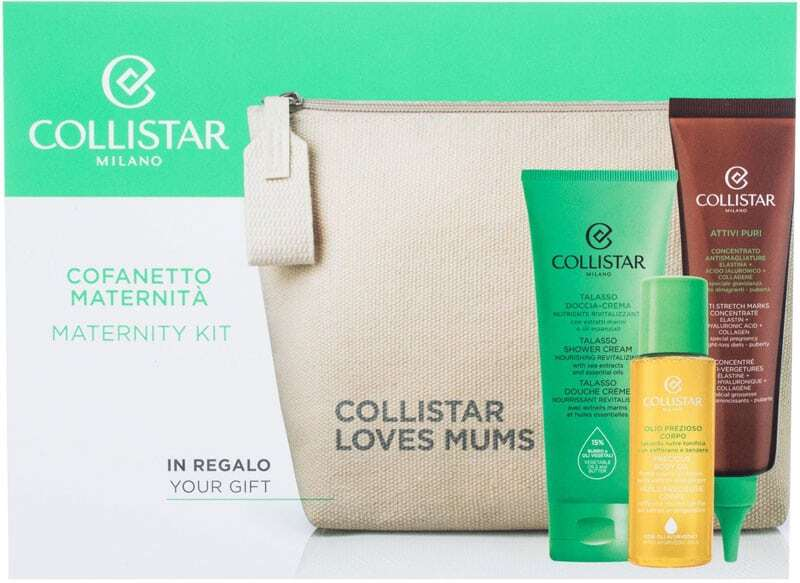 Collistar Maternity Kit Shower Cream 100ml Combo: Talasso Shower Cream 100 Ml + Pure Actives Anti Stretch Marks Concentrate 150 Ml + Precious Body Oil 55 Ml + Cosmetic Bag