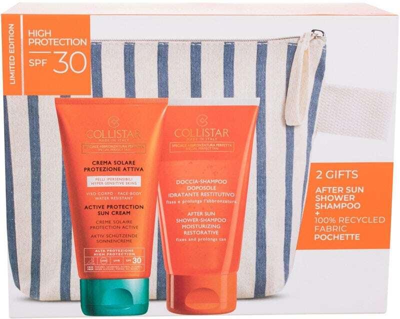 Collistar Special Perfect Tan Active Protection Set Combo: Active Protection Sun Cream SPF30 150ml + After Sun Shower-Shampoo Gel Moisturizing Restorative 150ml + Cosmetic Bag Damaged Box (Waterproof)