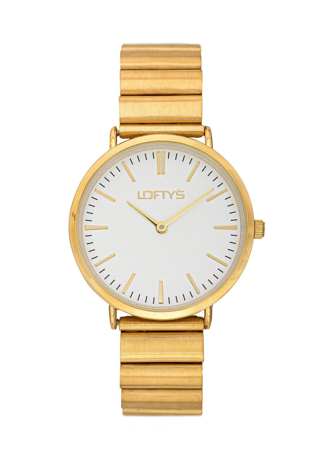 Ρολόι Loftys Corona Χρυσό Μπρασλέ Λευκό Καντράν Y2016-23