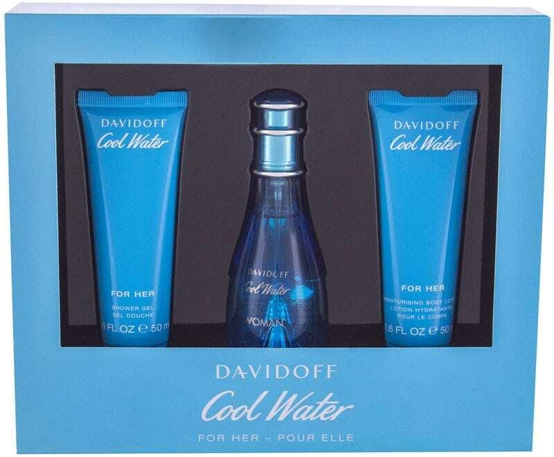 Davidoff Cool Water Woman Eau de Toilette 50ml Combo: Edt 50ml + 50ml Body Lotion + 50ml Shower Gel