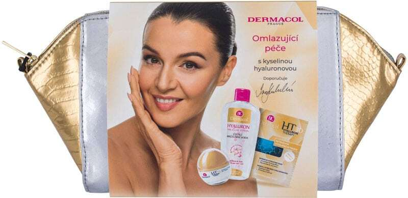Dermacol 3D Hyaluron Therapy Day Cream 50ml Combo: Daily Facial Cream 50 Ml + Micellar Water 200 Ml + Moisturizing Remodeling Face Mask 2 X 8 G + Cosmetic Bag (Wrinkles)