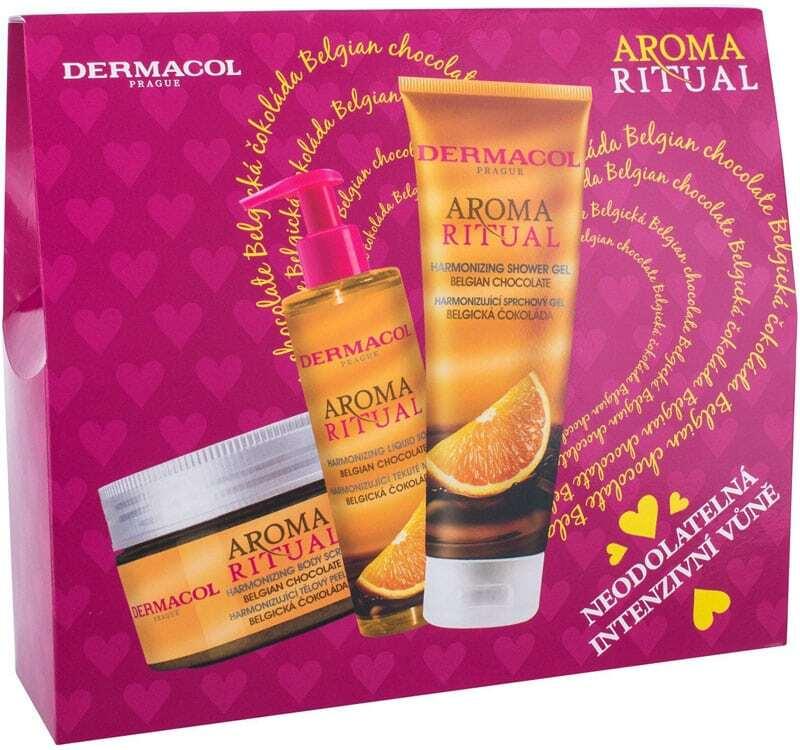 Dermacol Aroma Ritual Belgian Chocolate Shower Gel 250ml Combo: Shower Gel 250 Ml + Soap 250 Ml + Body Peeling 200 Ml