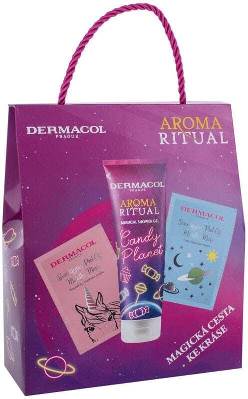 Dermacol Aroma Ritual Candy Planet Shower Gel 250ml Combo: Shower Gel 250 Ml + Cleansing Peel 15 Ml + Brightening Peel 15 Ml