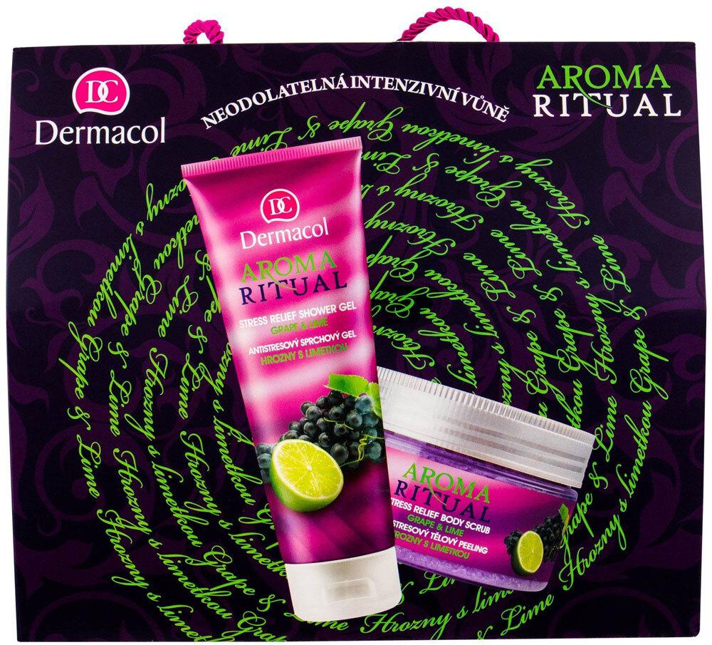 Dermacol Aroma Ritual Grape & Lime Shower Gel 250ml Combo: Shower Gel 250 Ml + Body Peeling 200 Ml