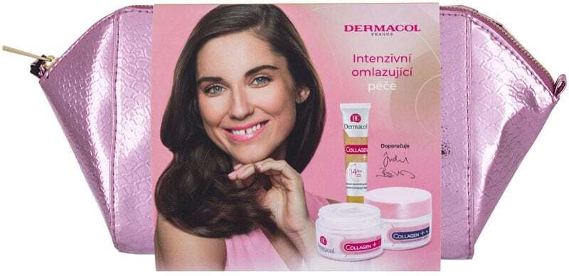 Dermacol Collagen+ SPF10 Day Cream 50ml Combo: Daily Facial Care SPF 10 50 Ml + Night Facial Care 50 Ml + Facial Serum 12 Ml + Cosmetic Bag (Wrinkles)