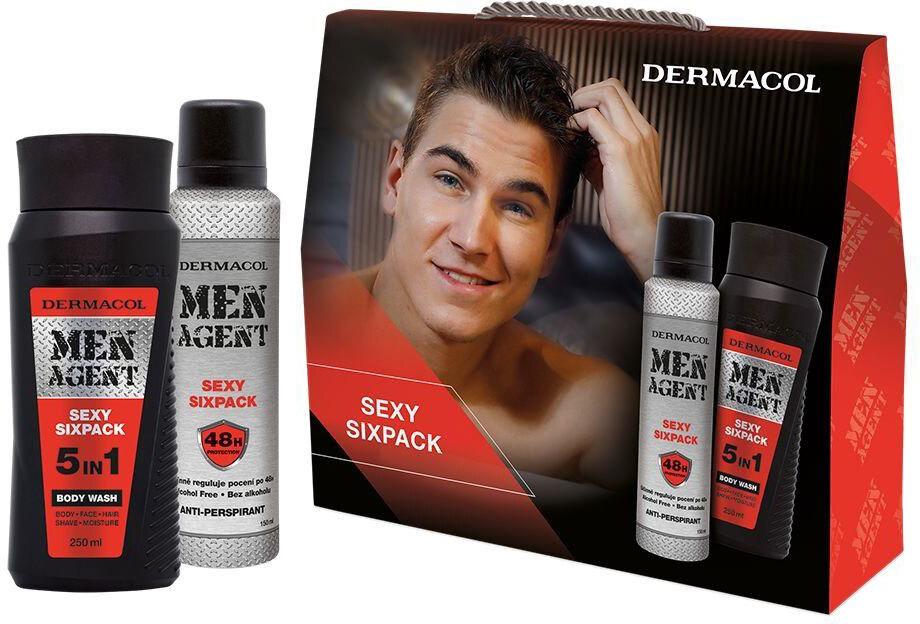 Dermacol Men Agent Sexy Sixpack 5in1 Shower Gel 250ml Combo: Shower Gel 5 In 1 250 Ml + Antiperspirant 150 Ml