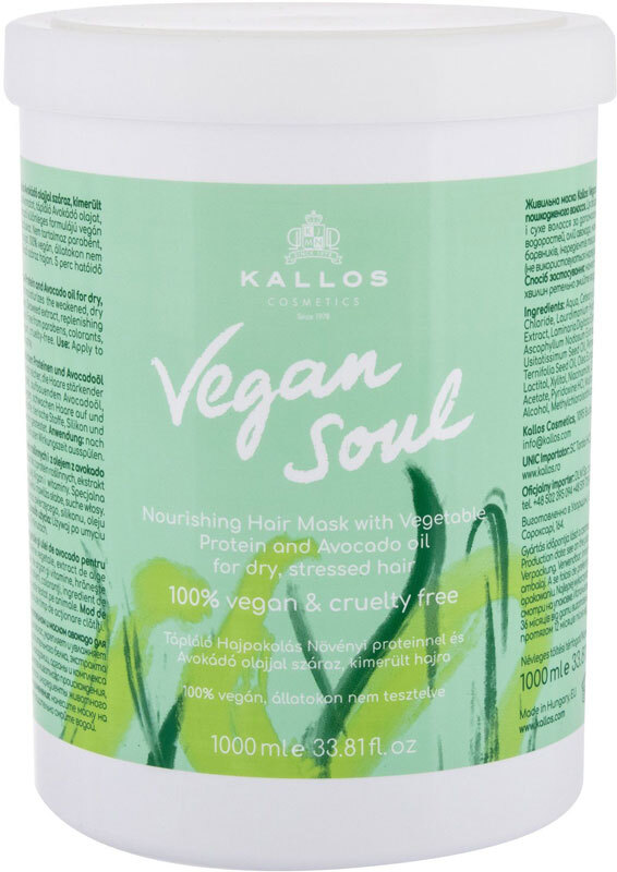 Kallos Cosmetics Vegan Soul Nourishing Hair Mask 1000ml (Weak Hair - Dry Hair)