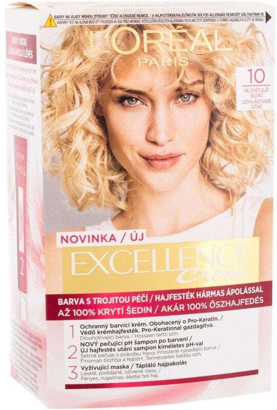 L´oréal Paris Excellence Creme Triple Protection Hair Color 10 Lightest Ultimate Blonde 48ml (Blonde Hair - All Hair Types)