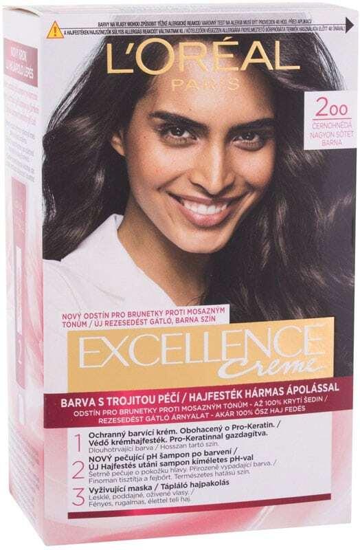 L´oréal Paris Excellence Creme Triple Protection Hair Color 200 Black-Brown 48ml (All Hair Types)