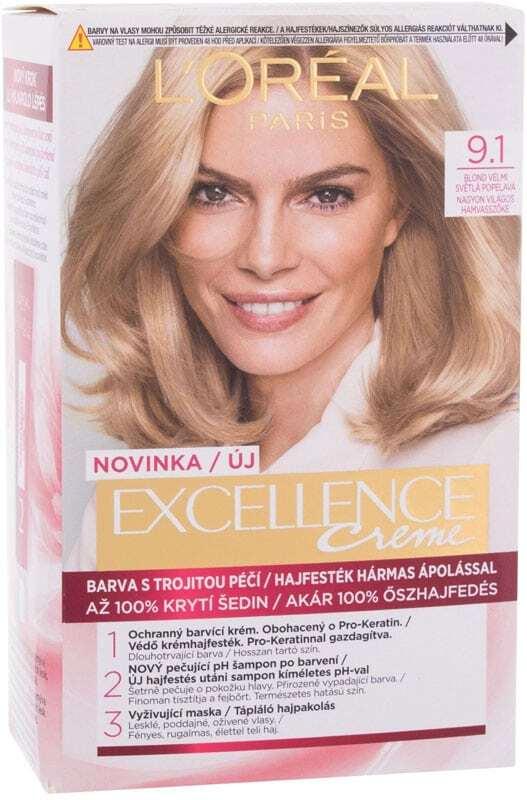 L´oréal Paris Excellence Creme Triple Protection Hair Color 9,1 Natural Light Ash Blonde 48ml (Blonde Hair - All Hair Types)