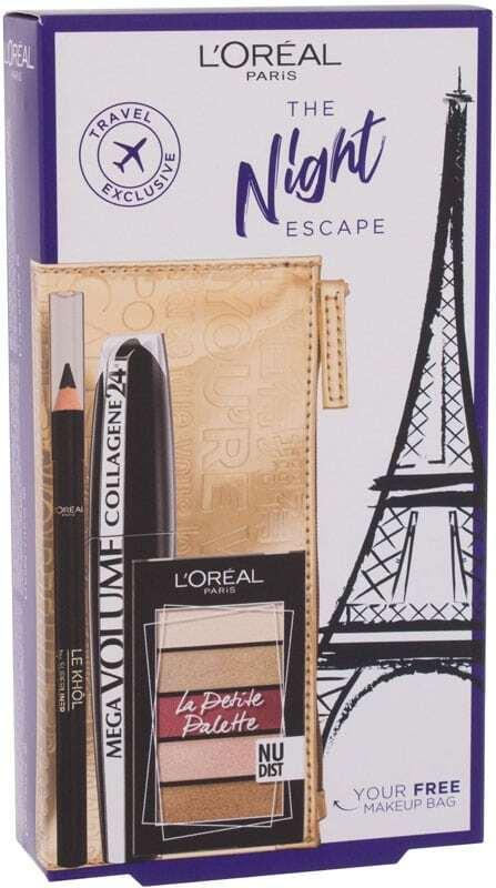 L´oréal Paris The Night Escape Mascara Mega Black 9ml Combo: Mascara Mega Volume Collagene 24H 9 Ml + La Petite Palette 4 G Nudist + Le Khol Superliner 1,2 G 101 Midnight Black + Cosmetic Bag