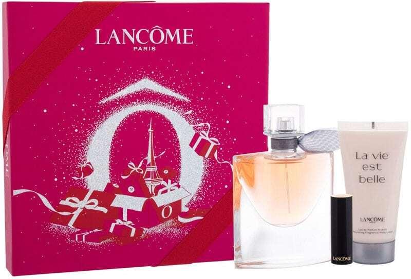 Lancôme La Vie Est Belle Eau de Parfum 50ml Combo: Edp 50 Ml + Lipstick L´Absolu Rouge 1,6 G 132 Caprice Cream + Body Lotion 50 Ml