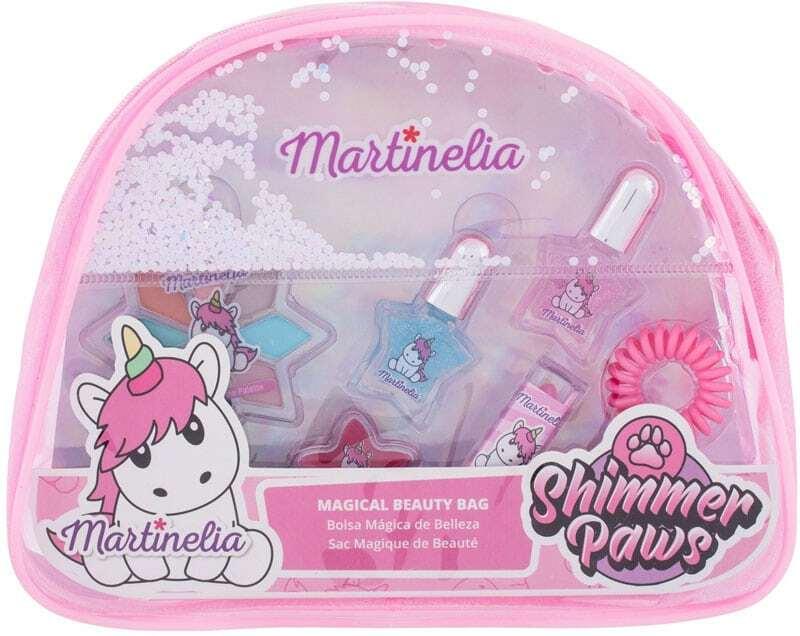 Martinelia Shimmer Paws Magical Beauty Bag Unicorn Eye Shadow 2,8gr Combo: Eye Shadow 2,8 G + Lip Shine 2 G + Lip Stick 1,8 G + Nail Polish 2 X 3 Ml + Hair Gum + Cosmetic Bag