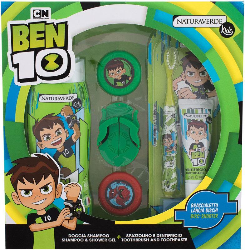 Naturaverde Kids Ben 10 Shower Gel 250ml Combo: Shower Gel Ben 10 250 Ml + Tooth Paste Ben 10 25 Ml + Tooth Brush Ben 10 1 Pc + Disc-shooter Ben 10