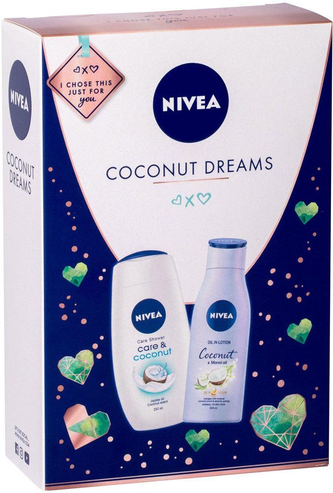 Nivea Care & Coconut Shower Cream 250ml + Body Lotion Coconut & Monoi Oil 200ml